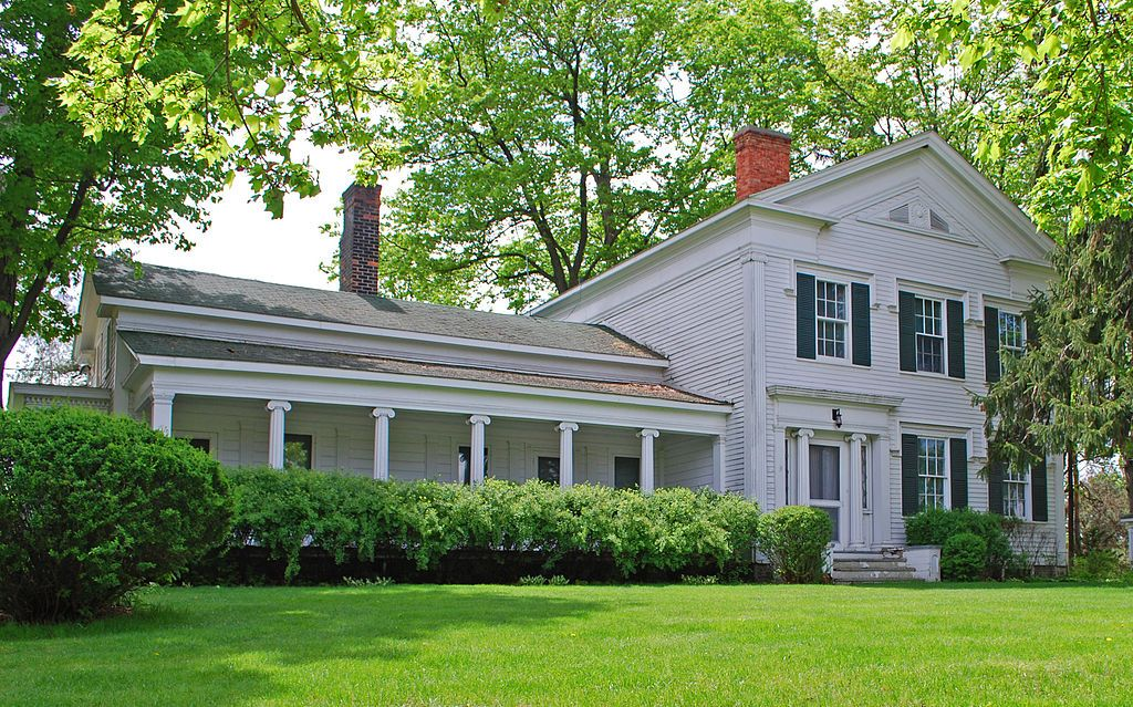 Greenmead Farms Livonia Michigan Includes The 1841 Greek Revival Simmons House Six Other Stru Greek Revival Home Brick Farmhouse Greek Revival Architecture