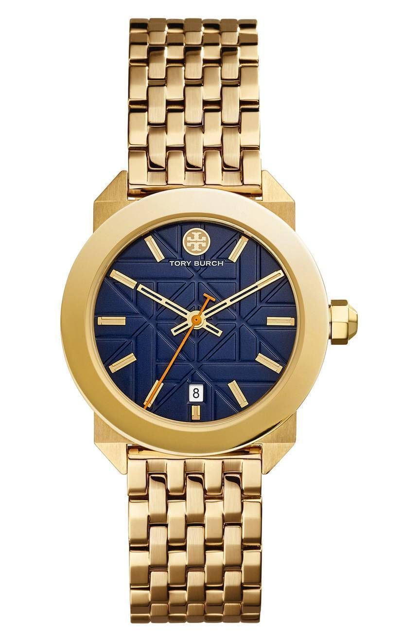 Blue Goldtone Round Bracelet Watch - Women