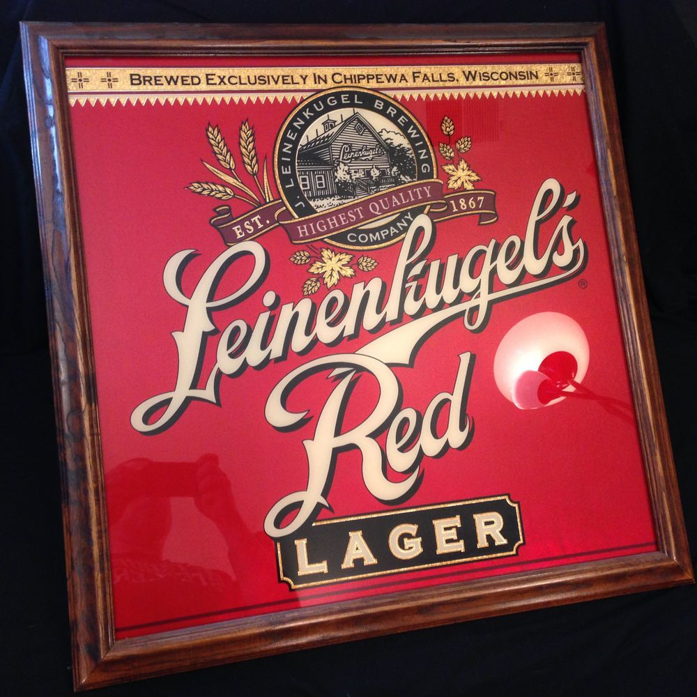 Leinenkugel S Red Lager Wooden Framed Bar Sign Mirror 27