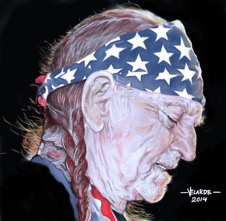 Willie Nelson ilustracion a color