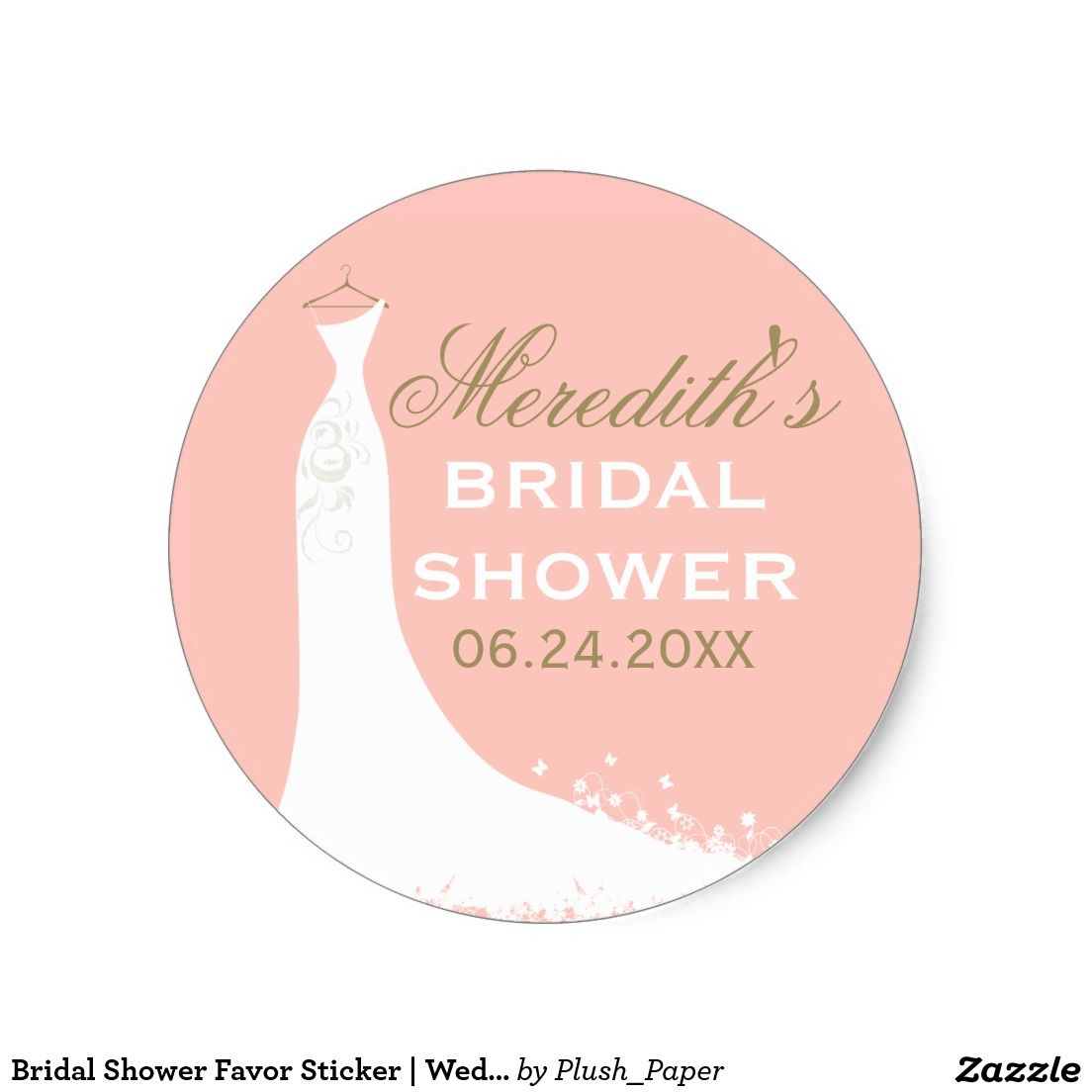 Bridal Shower Favor Sticker   Wedding Gown   Pinterest   Shower ...