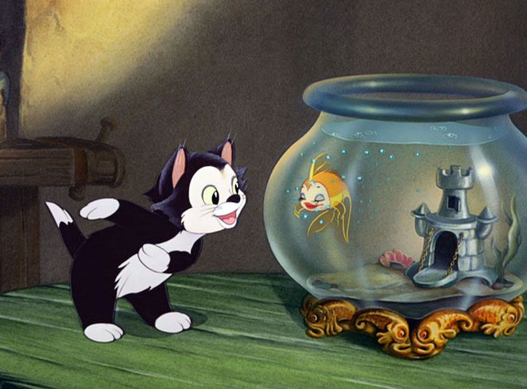 Figaro gepetto 39 s kitty tries to persuade pinocchio not to go disney disney walt disney et - Chat dans pinocchio ...