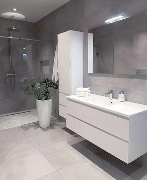 Come arredare il bagno con il grigio - Bagno in stile moderno   Ikea ...