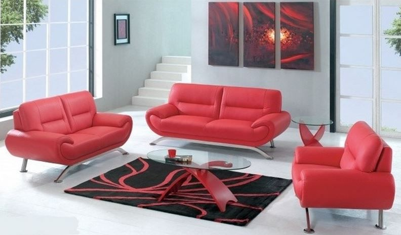 Decoration salon avec canap rouge cuir three piece sofa for Meuble salon rouge