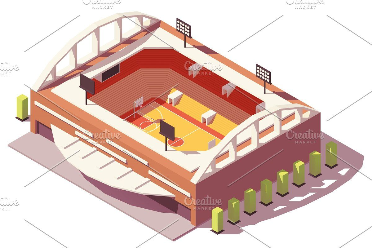 Vector isometric low poly bowling alley interior in 2020