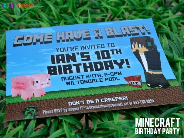 minecraft party ideas – Party City Invitations for Birthdays