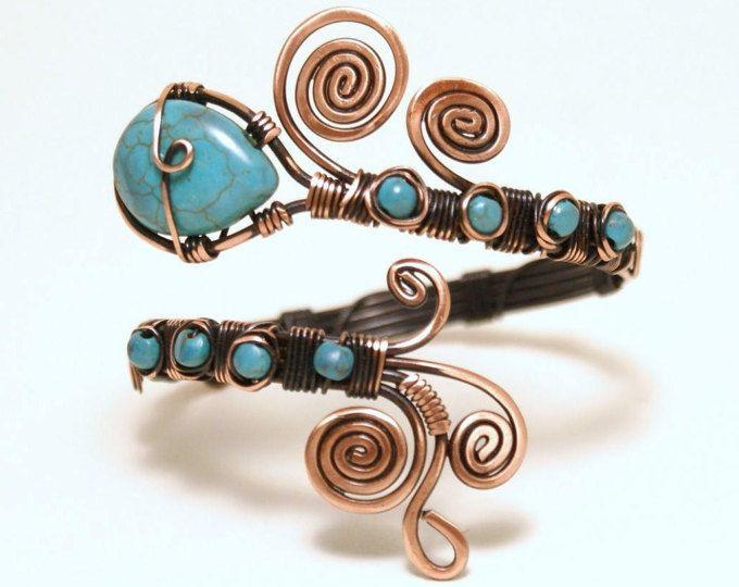 Kupfer, Türkis-Armband, Kupfer Armband Frauen, Türkis Armreif, Draht ...