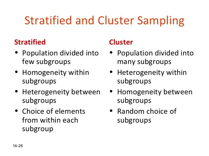 Stratified Vs Cluster Probability Sampling  Research
