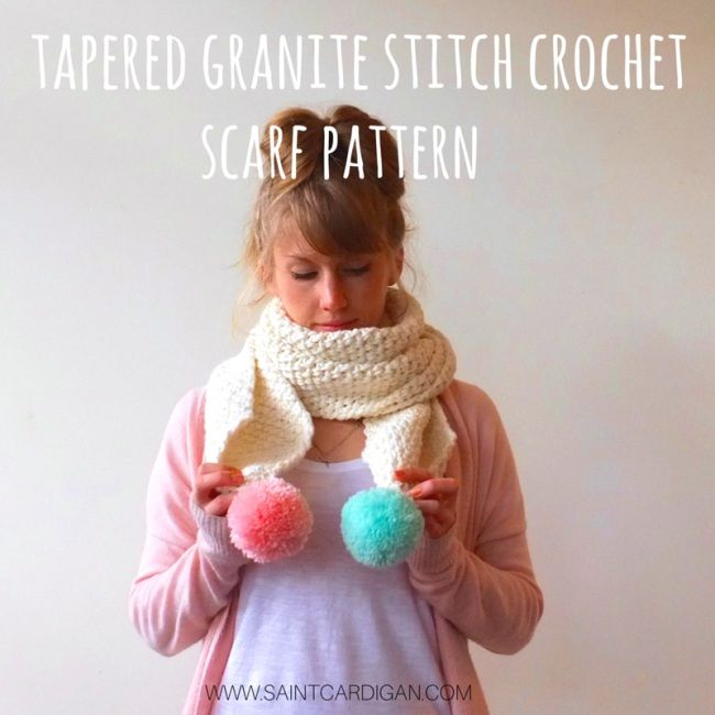 Tapered Granite Stitch Crochet Scarf Pattern With Pompoms Crochet