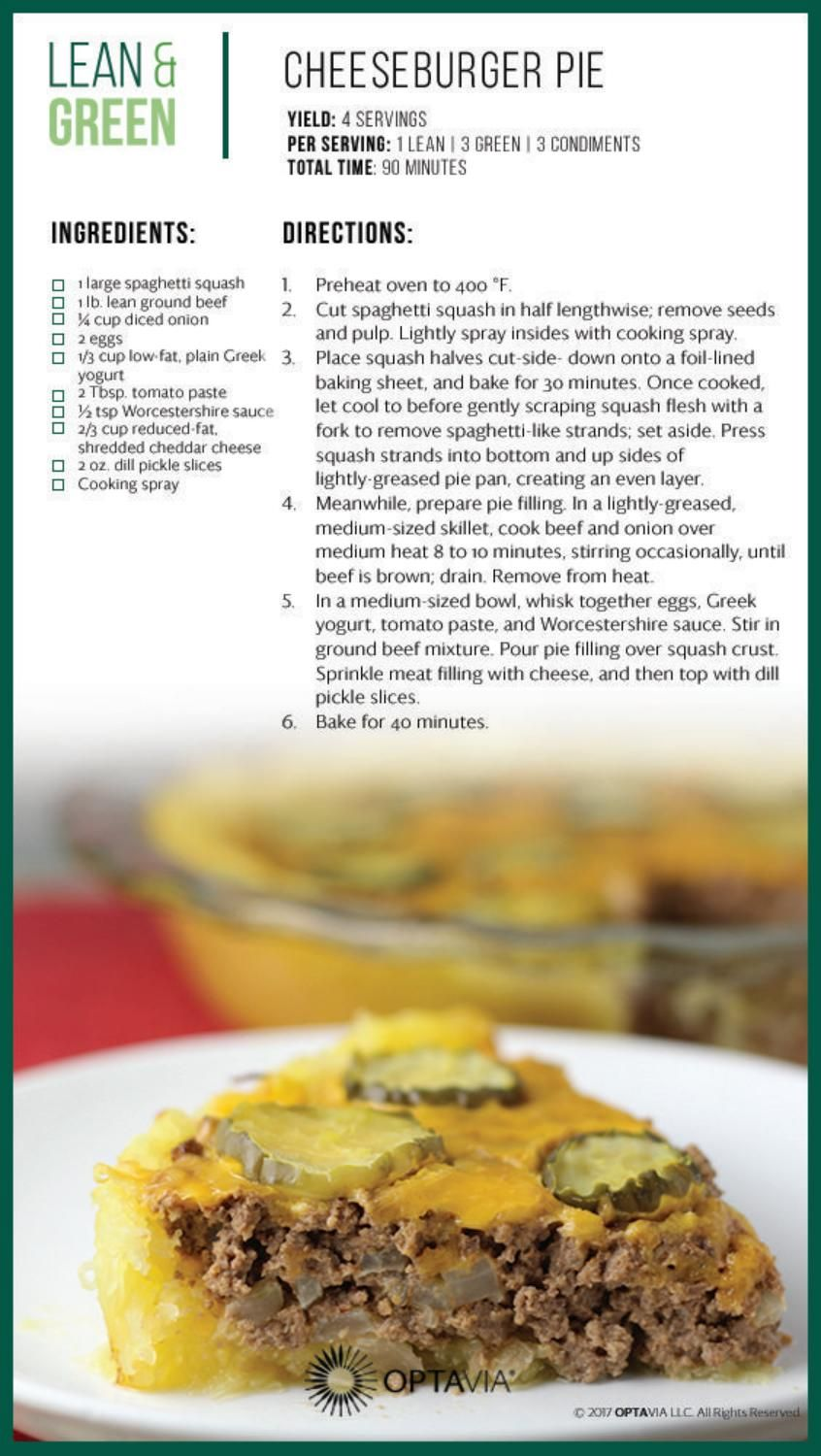 Optavia Recipe Guide Lean Protein Meals Lean And Green Meals Greens Recipe