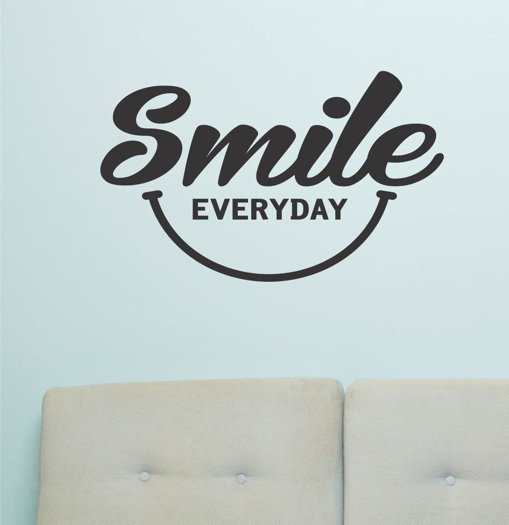Smile Everyday Wall Art Vinyl Wall Lettering Happy Face Decal - Custom vinyl lettering wall decals art sayings