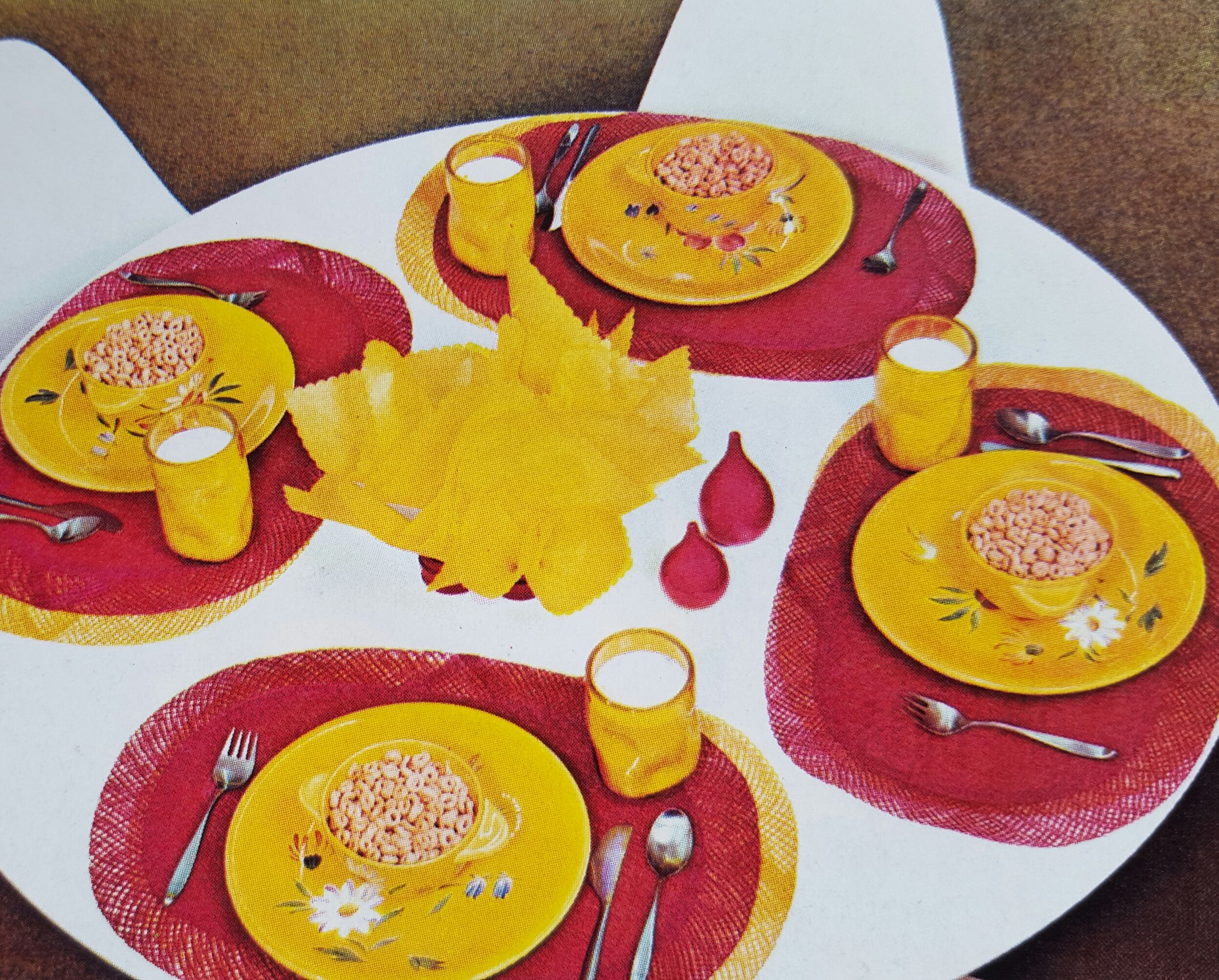 In 1969 even a cold cereal breakfast was made special by setting the table with brightly colored dishes, place-mats, and glassware!
