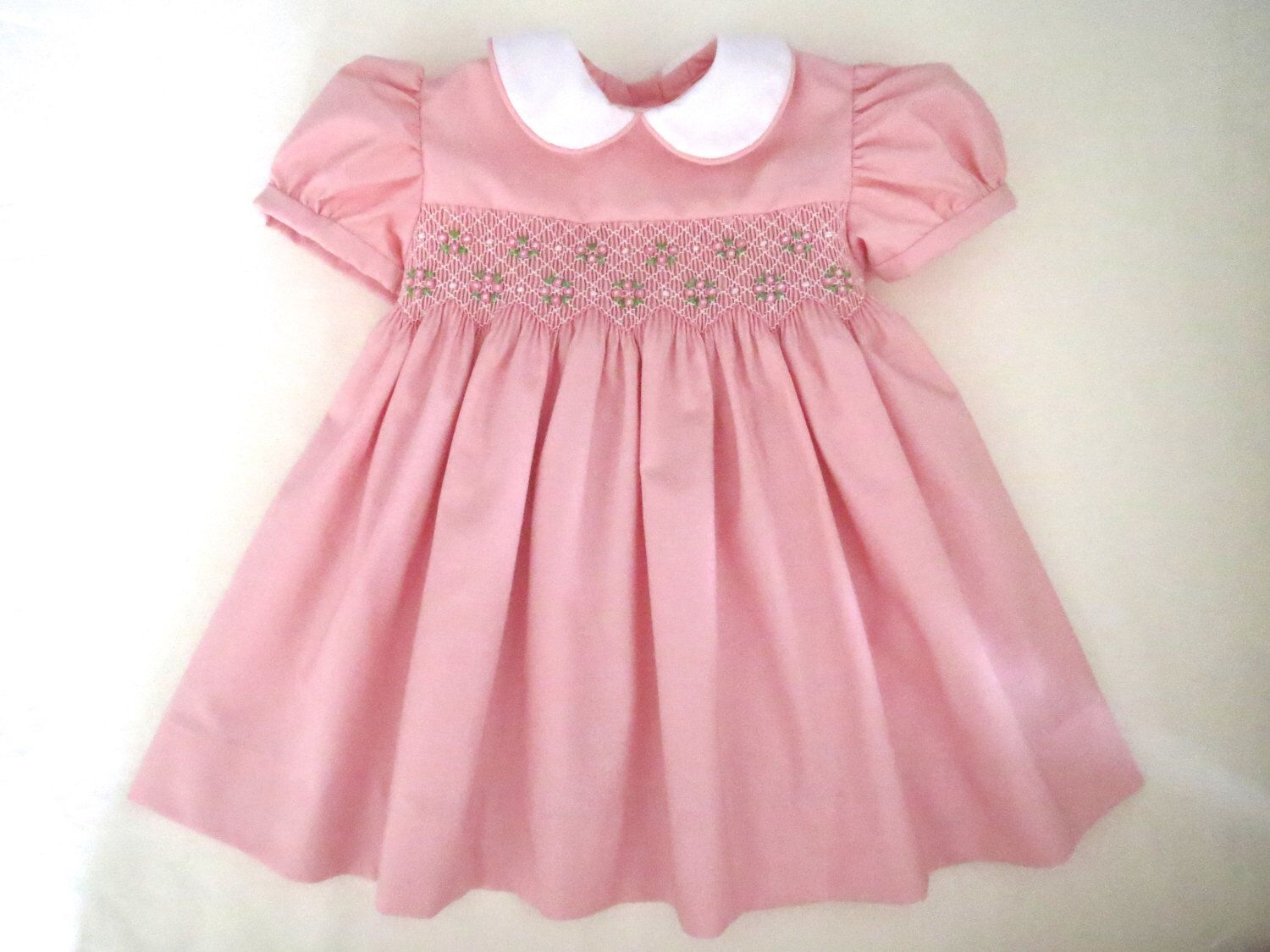 28bd0ba3a Lovely Light Pink and White Hand Smocked Dress for Baby Girl ...