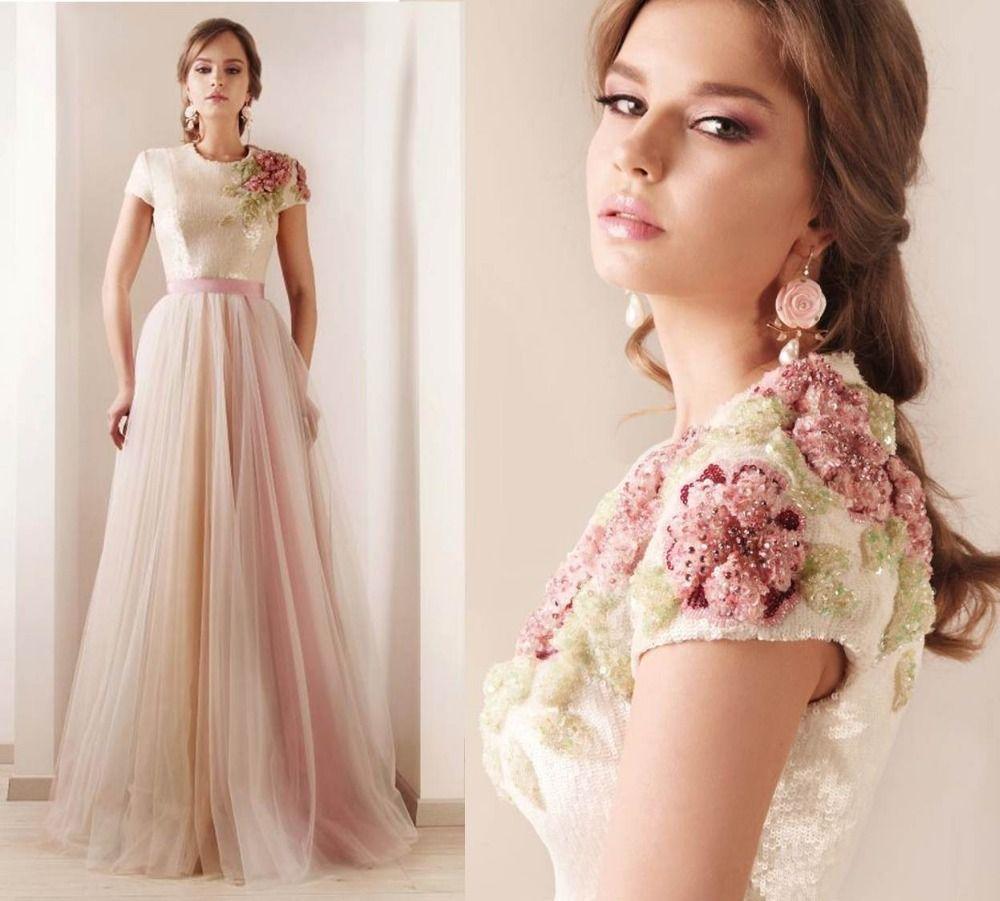 87ce709ad7f Pas cher Vintage broderie fleur Tulle longues robes de soirée rose Cap manches  robe de soirée