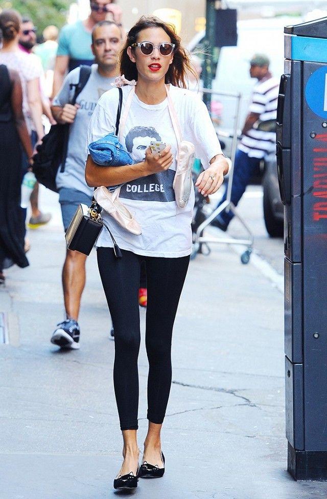 544f151cf18c9 Alexa Chung looks effortlessly graceful post-ballet in leggings and  ballerina flats