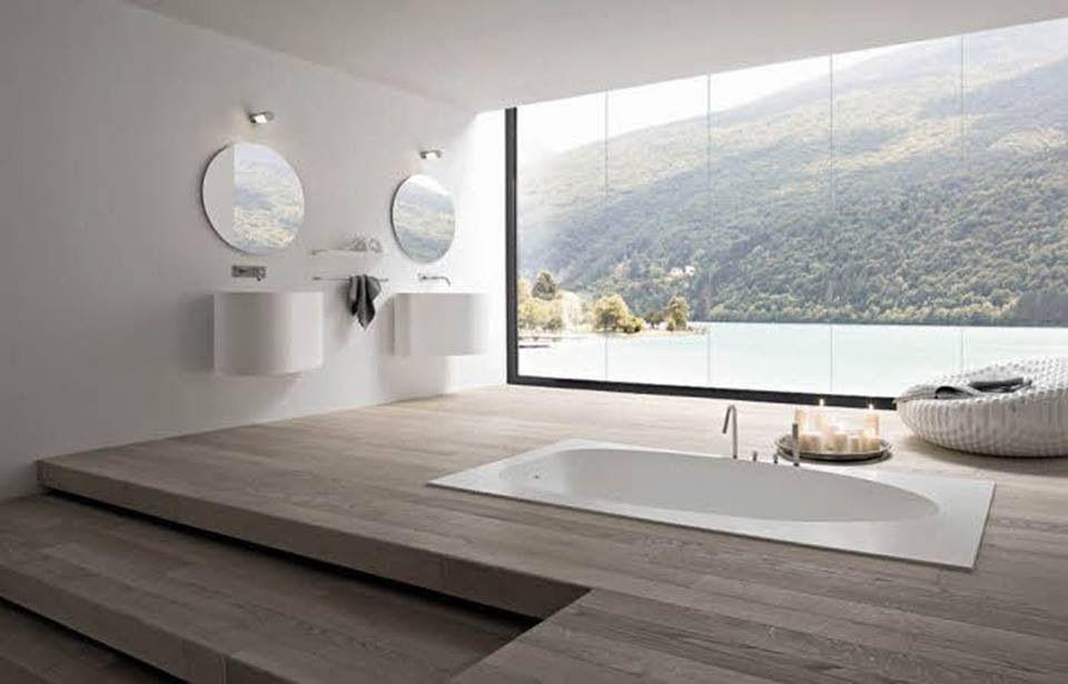Picture window bathroom with sunken bath & double sink ...