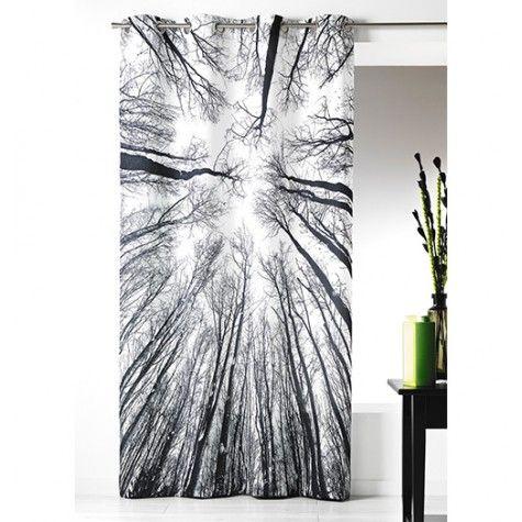 rideau microfibre imprim e for t noir et blanc. Black Bedroom Furniture Sets. Home Design Ideas