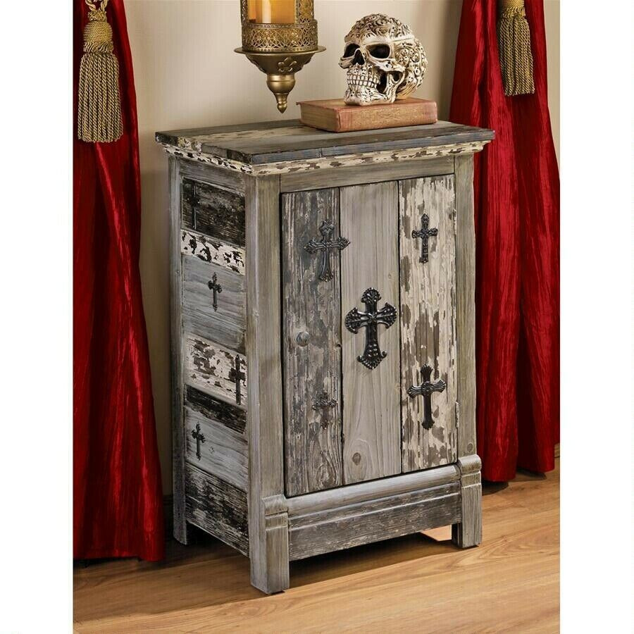 Gothic Bedside Table Cabinet With Victorian Style Crosses