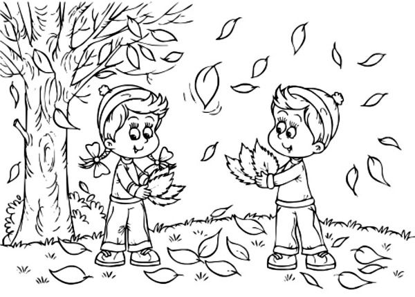 kids-cleaning up fall leaves coloring page - Kids Free Printables ...