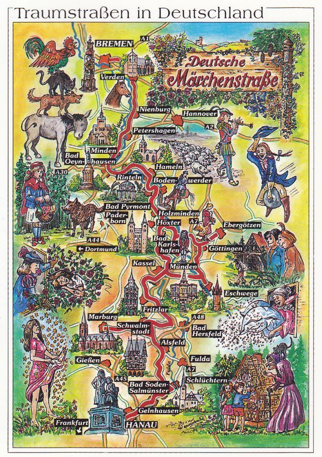 This illustrated map shows the German Fairy Tale Route It is a 600
