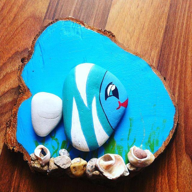 Taş Boyama Denizbalık Wall Stones Art Pinterest Painted