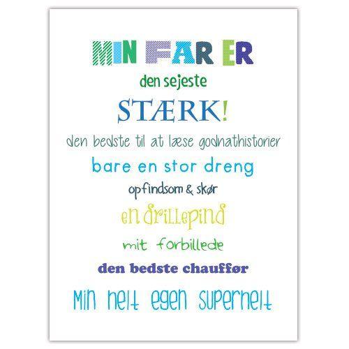 Plakat Min Far Er Colors Livets Sandheder Fodselsdagskort Ideer Far Citater
