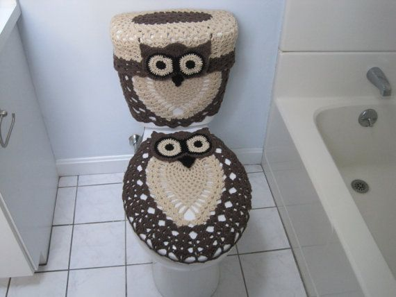 Crochet Set Of 3 Items Owl Toilet Tank Lid Cover Tank