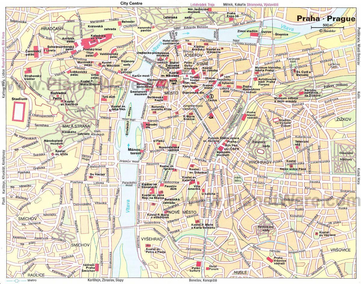 Prague Map - Tourist Attractions   Praha   Pinterest   Prague ...