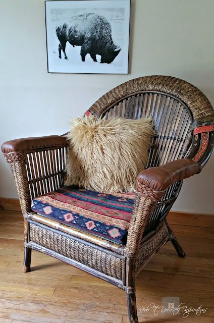 Pier 1 Wicker And Rattan Chair Makeover With Repurposed Leather Jacket Belts