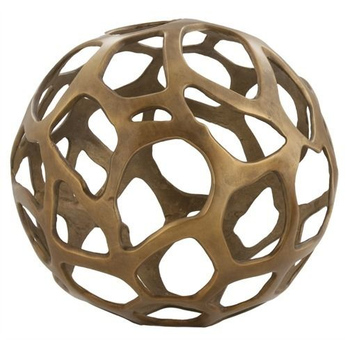 Ennis Large Antique Brass Web Sphere - Arteriors - $300.00 - domino.com