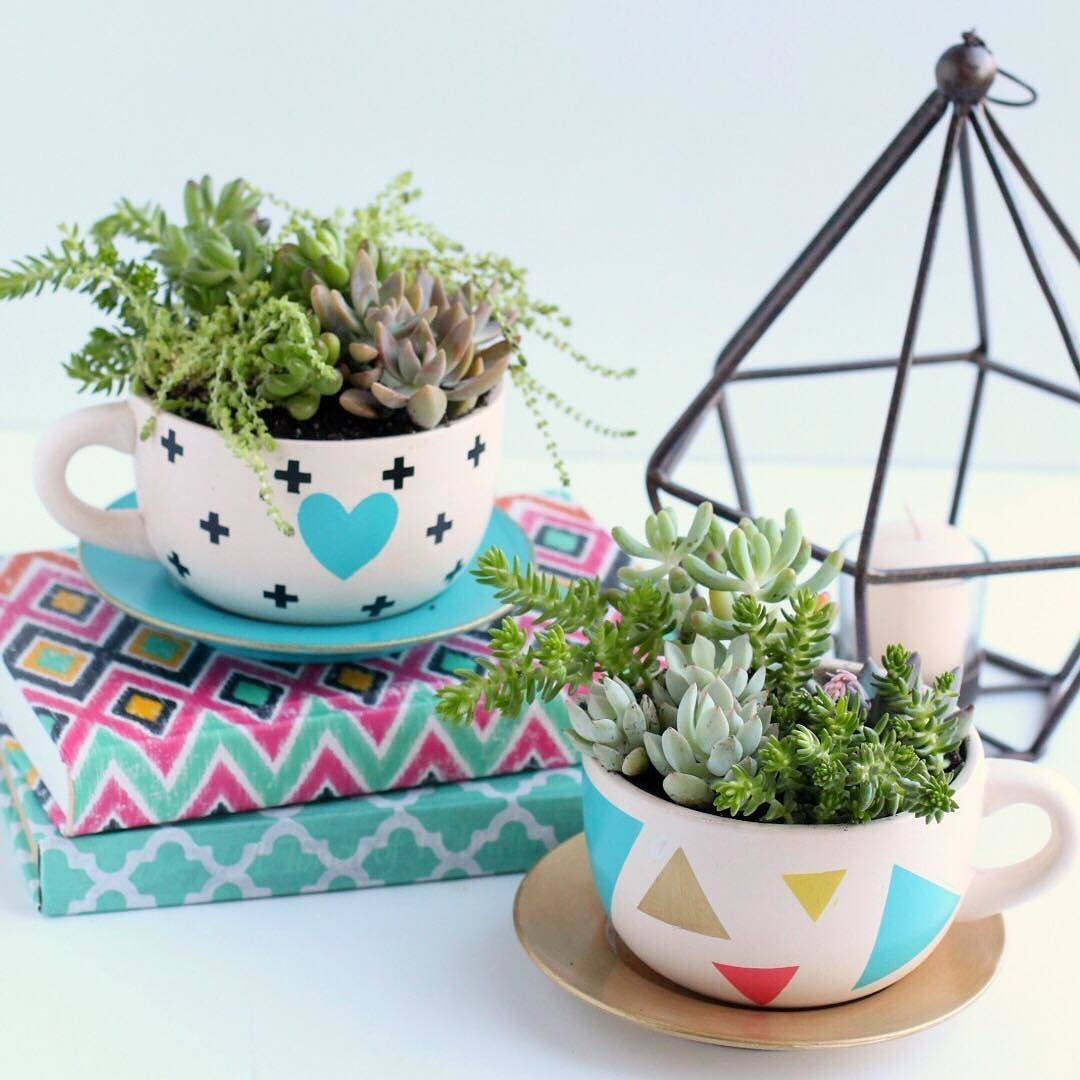 Aren't these succulent tea cup planters just adorable? ☕️ 🌱Let  @giggles_galore show you how easy it is. Get your succulent on! Click the link! #succulent #diy #orientaltrading