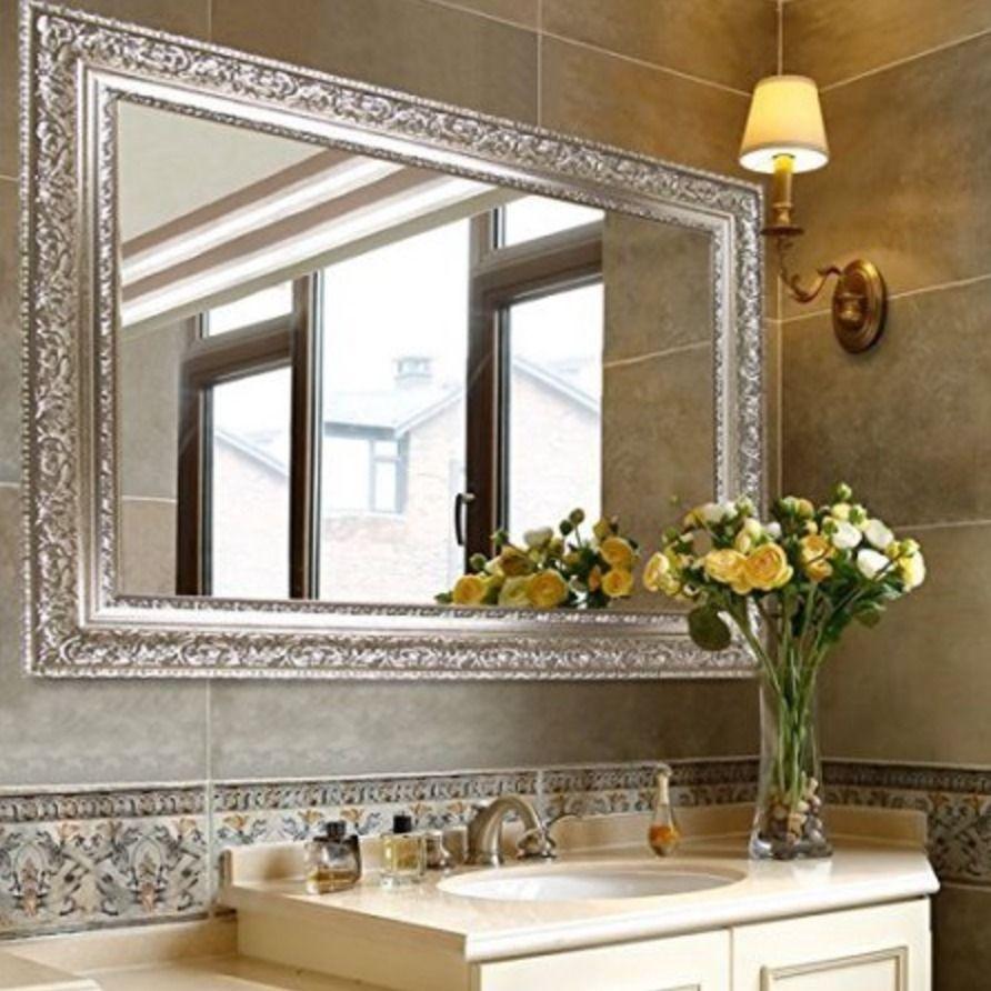Large Wall Mirror Decorative Silver Bathroom Art