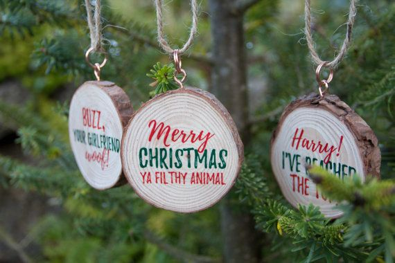 3 X Home Alone Quote Christmas Ornaments. Wood Slice With Calligraphy. Merry  Christmas Ya