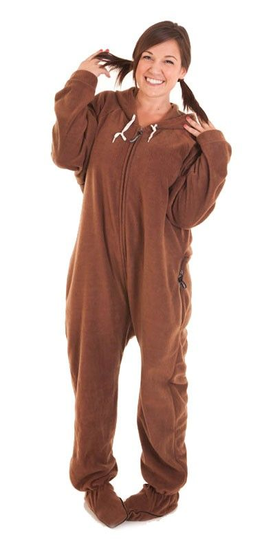 Brown Footed Deluxe Adult Onesies, Footie Pajamas, Onesie Footy ...