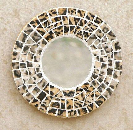 serengeti leopard mosaic mirror animal print home decor