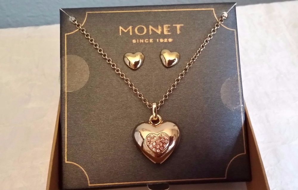 Monet Gold Tone Rhinestone Heart Locket Necklace Earring Set