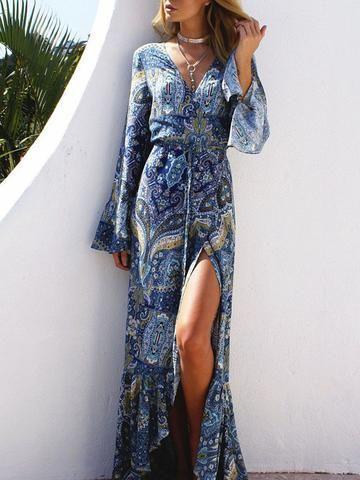 ca102e5092 Pretty Chiffon Bohemia Floral Front Split with Tie Long Sleeve Maxi Dress
