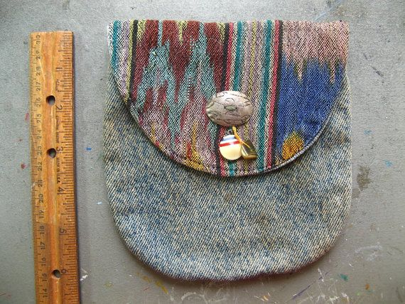 Denim Patterned Pouch with Button Closure & Pretty by AcuteCat