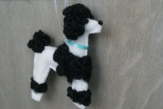 Hand Made Recycled Wool Poodle Dog Ornament