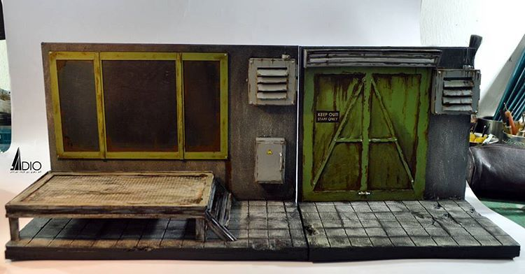 1 10 Scale Combination Of Indoor Warehouse Diorama Type 1 And Type 2 Diorama Diostructure Mdpe Malaysiadioramapropsef Diorama Indoor Interior And Exterior