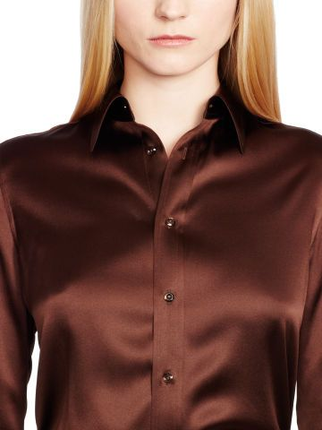 Rachel Stretch-Silk Shirt - Black Label  Long-Sleeve - RalphLauren.com