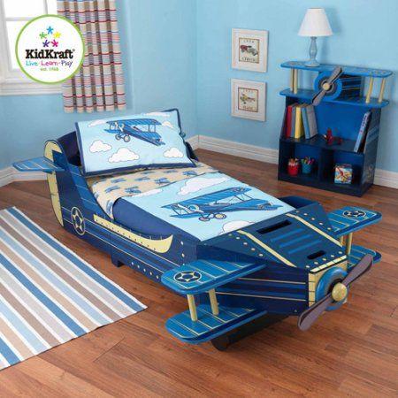 Kidkraft Airplane Toddler Bed  Walmart  Aaron  Pinterest Cool Aaron Bedroom Set Decorating Inspiration