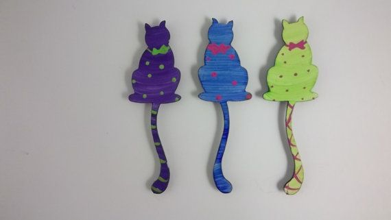 Cat Magnets  Super Strong Hand Painted Steel by rebeccaduffbush