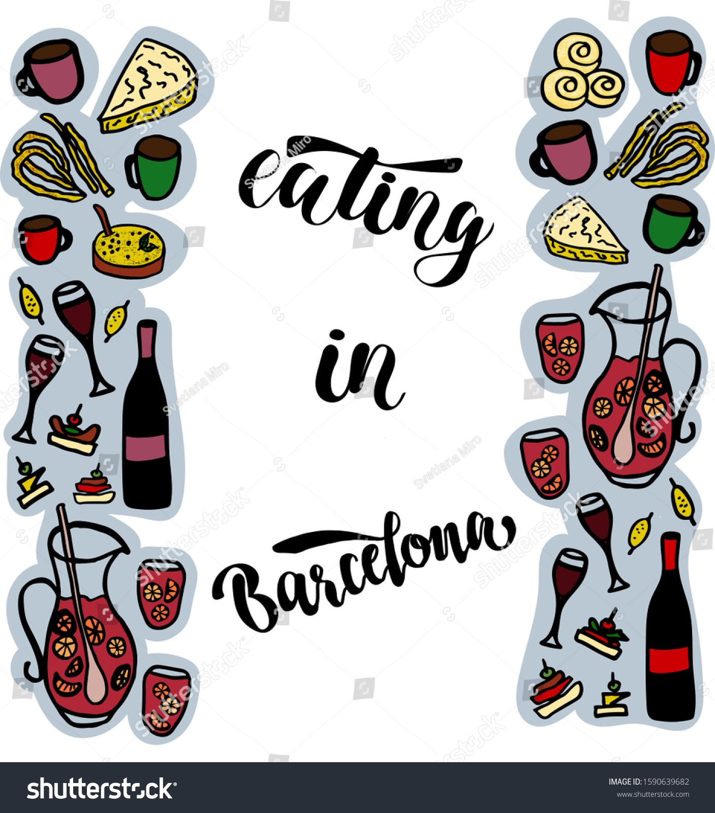 Vector Illustration Of Words Eating In Barcelona With The