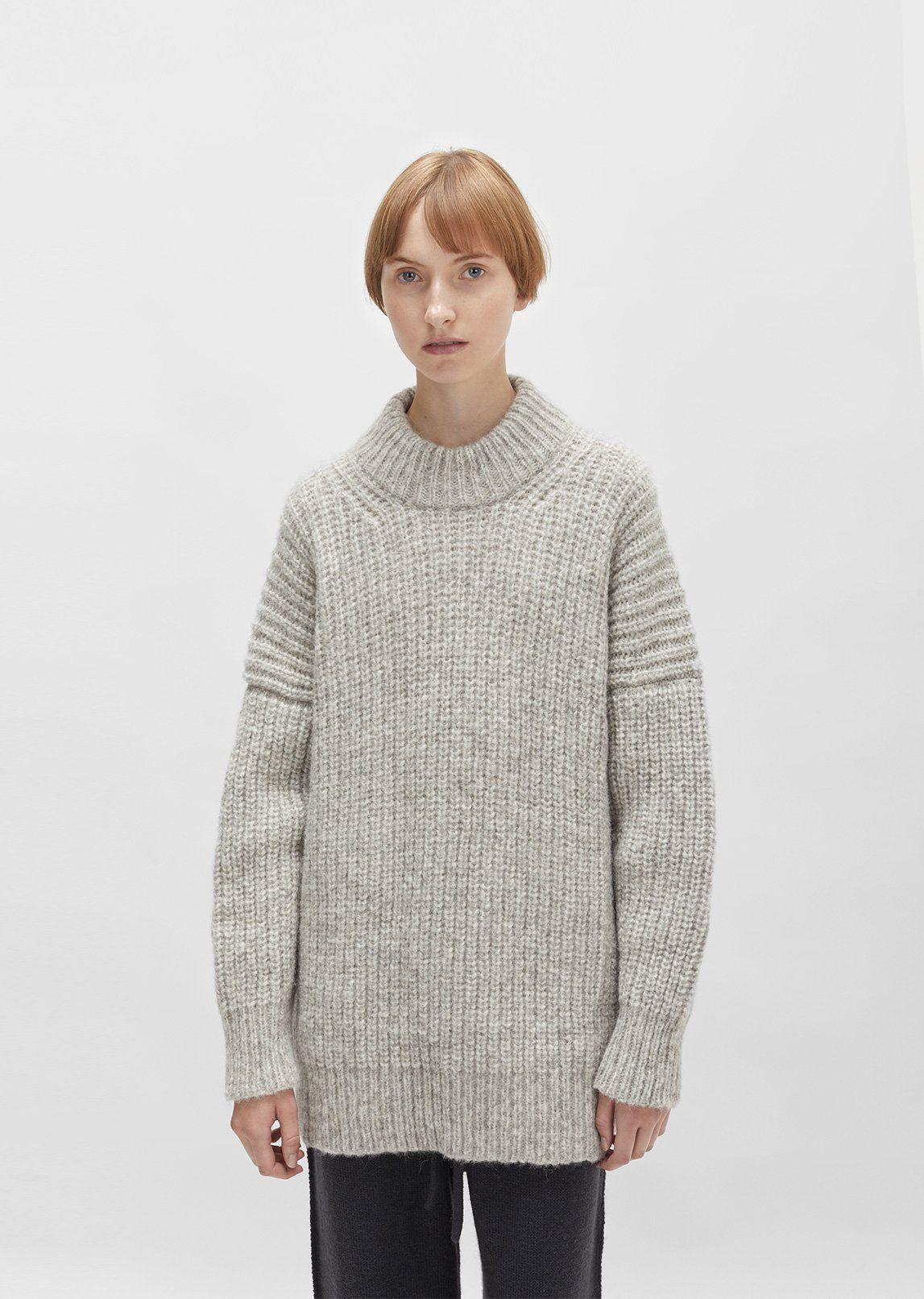c2ab0846c Dark grey chunky knit turtleneck sweater made from ultra-soft fine ...