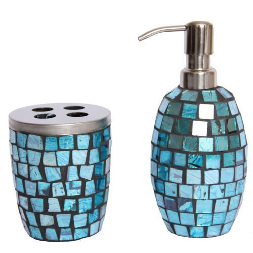 Turquoise Bathroom Accessories Turquoise Mosaic Glass Bathroom - Blue glass bathroom accessories for bathroom decor ideas