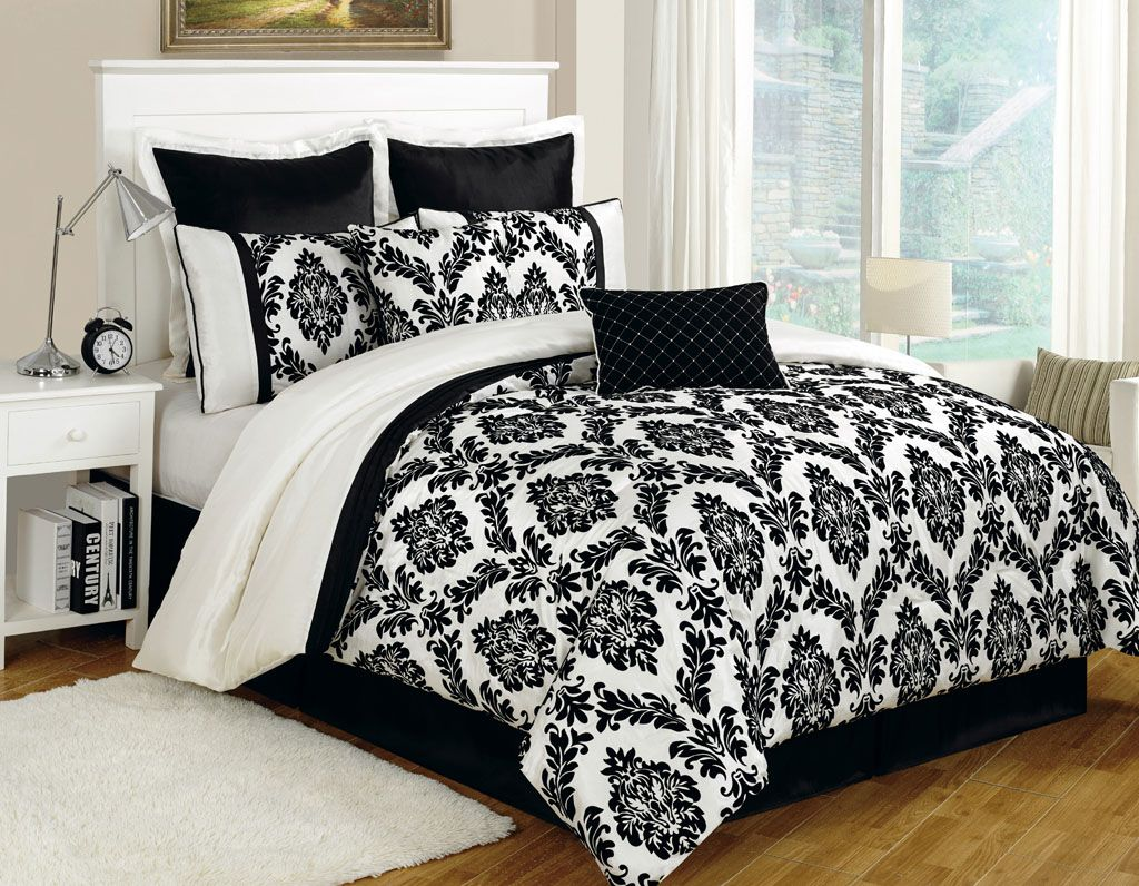 this elegant villa comforter set features flocked floral and