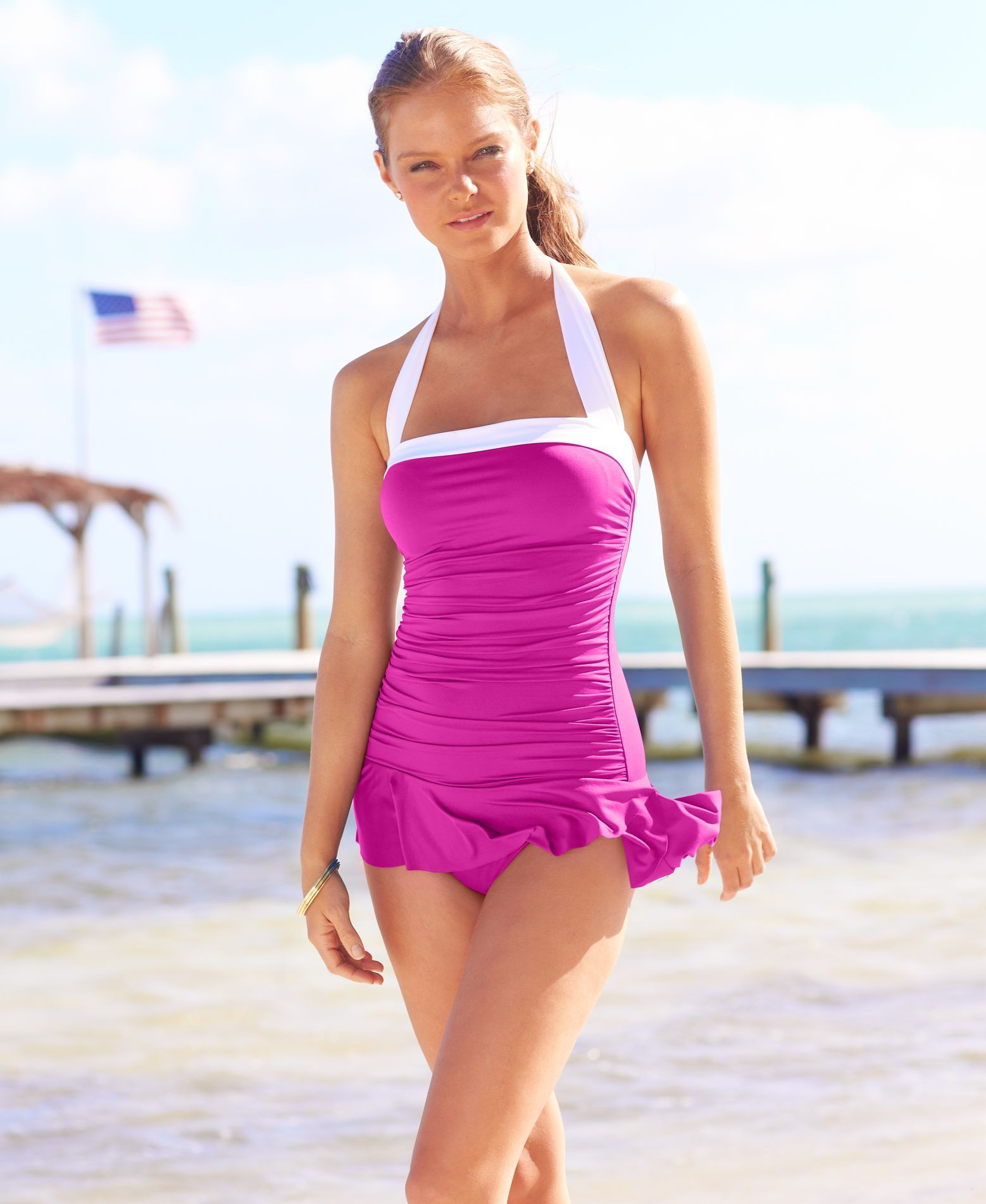 a3b7892808 Halter Ruched Tummy-Control Swimdress
