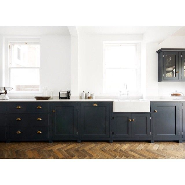 Dark Green Bottom Cabinetry Bright White Walls Churchill Street - Dark grey kitchen units