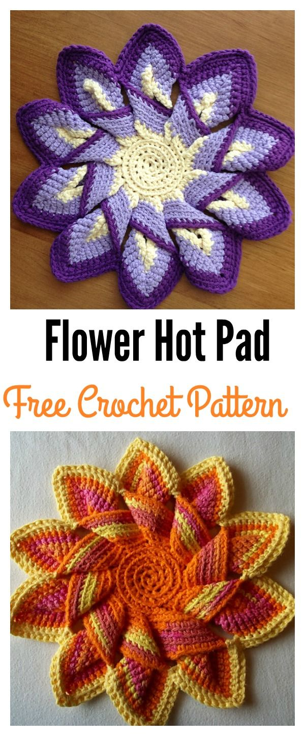 Colorful Crochet Flower Pot Holder with FREE Pattern | Pinterest ...